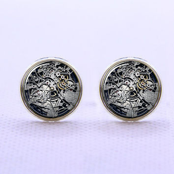Clock Movement Cufflinks  -Mens Silver Plated Cufflinks,Accessoires for Man-Mens Gift ,Gift for Daddy ,Best Man