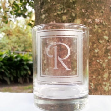 Monogrammed Single Letter Etched Cocktail Glass, Personalized Beer Glass, Wine Glass