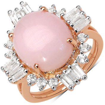14K Rose Gold Plated 6.42 Carat Genuine Pink Opal & White Topaz .925 Sterling Silver Ring