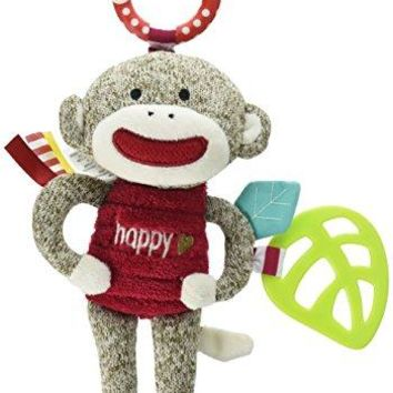 Baby Starters Sock Monkey Crinkle, Rattle, Squeak Plush with Hook, Brown/Red, 9""