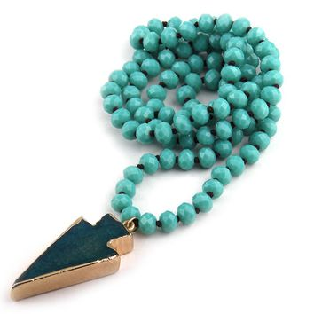 Free Shipping Fashion Knotted Halsband Aqua Crystal Beads Neck Arrowhead Pendant Necklace