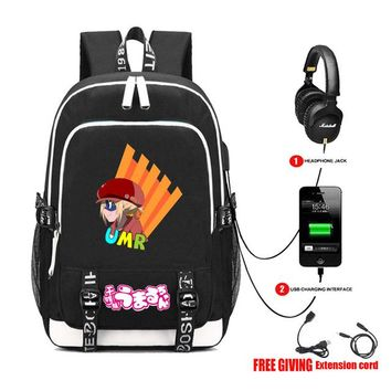 Anime Backpack School USB Charging Headphone jack Teenagers unisex Casual travel bag student book Laptop bag kawaii cute Himouto! Umaru-chan backpack AT_60_4