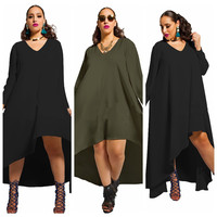 Autumn Plus Size Women's Fashion Irregular Long Sleeve Chiffon V-neck One Piece Dress [6048289729]