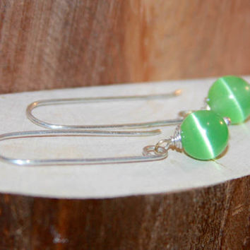 Green Dangle Earrings, Green Glass 14k Gold Filled Long Dangle Earrings, Short Dangle Earrings, Sterling Silver Earrings, Handmade Earrings