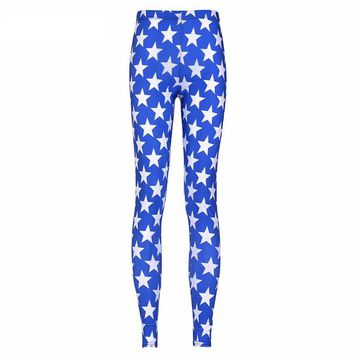 Blue and White Stars Printed Leggings