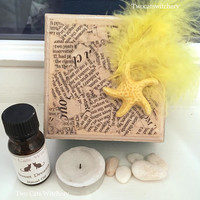 Witch Altar Kit, Spell Box Kit, Jewelry Box, Wiccan Ritual Kit, Handcrafted OOAK, Trinket Box, Spell Oil, Yellow Feather, Quartz Crystal Kit