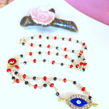 Blue and red evil eye black and red rosary gold filled necklace, blue evil eye rosary bohemian chic necklace, evil eye good luck necklace