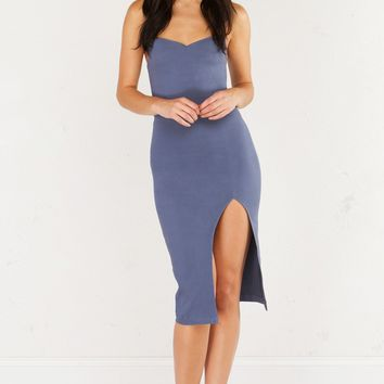 AKIRA Strapless Structured Midi Dress With Slit in Grey and Green