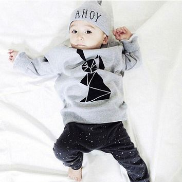 New Arrive kids clothes Fit spring autumn Gray with rabbit baby boy clothes Little Dude 2pcs tracksuit clothes