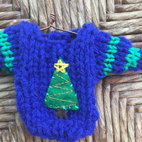 Hand-Knit Ornament, mini sweater ornament with Christmas Tree applique, Handcrafted xmas decor, gift topper, secret santa, office gift