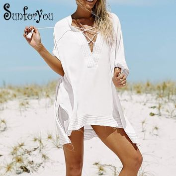 Saida de Praia de Renda V-neck Bikini Cover up Beachwear Women Beach Cover ups Sarong Beach Kaftan Beach Tunic Pareos Swimwear
