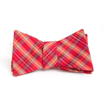 Red & White Holiday Silk Bow Tie