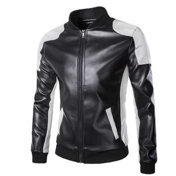 New Motorcycle Jackets Men Vintage Retro PU Leather Jacket Punk Windproof Biker Classical Stand Collar Slim Moto Jacket