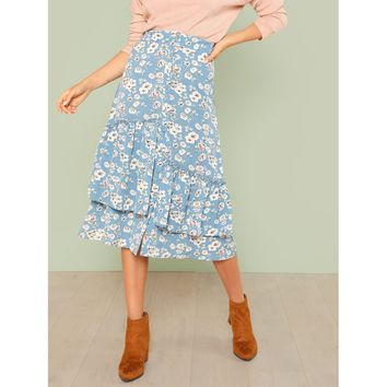 Tiered Asymmetrical Ruffle Hem Floral Button Skirt