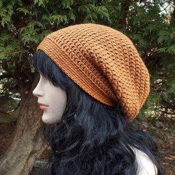 Burnt Orange Slouch Beanie - Womens Slouchy Crochet Hat - Ladies Oversized Cap - Hipster Hat - Baggy Beanie