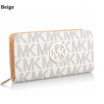 MK MICHAEL KORS Fashion Women's Zipper Wallet Wallet Clutch Bag Crossbody Bag Beige
