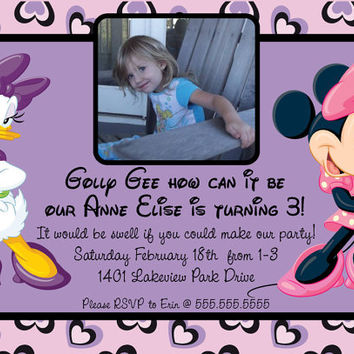 Minnie Mouse and Daisy Duck Digital Picture Invitation / Printable file