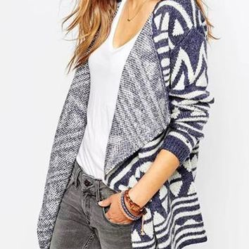 Womens Coat - Geometric Patterned Woven Blanket
