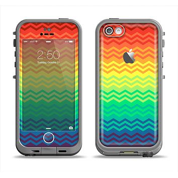 The Rainbow Thin Lined Chevron Pattern Apple iPhone 5c LifeProof Fre Case Skin Set