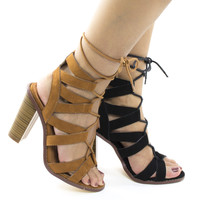 Sage26 Tan By Liliana, Open Toe Caged Leg Wrap High Stack Heeled Sandals
