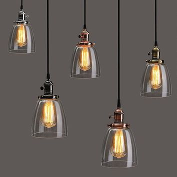 Shop vintage glass lamp shades on wanelo lamp cover e27 2m retro vintage industrial coffee house glass cover ceiling pendant lamp chandelier light aloadofball Image collections
