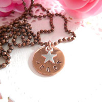"Personalized Customized Copper Necklace With Star Charm 3/4"" 18mm"