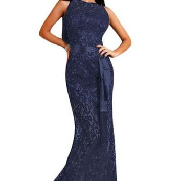 Chicloth Navy Lace Satin Patchwork Party Maxi Dress