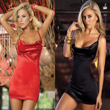 Hot Deal Cute On Sale Spaghetti Strap Slim Dress Club Sexy Uniform Exotic Lingerie [6595802947]