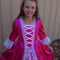 Williamsburg Historical Civil War Pioneer Days Handmade American Colonial Girl -Pink Eliza- Child Size