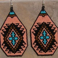Pueblo Earring Hand Made Seed Beaded  Earrings