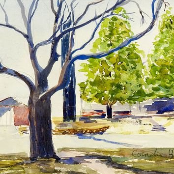 Backyard Landscape Watercolor Painting