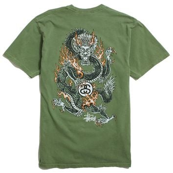 Fire Dragon Pigment Dyed T-Shirt Olive