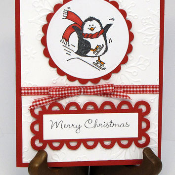 Merry Christmas, penguin, card, greeting card , ice skating, hand stamped. hand colored, embossed snowflakes, red and white, custom,cards