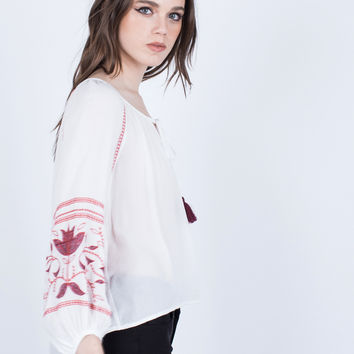 Embroidered Boho Blouse