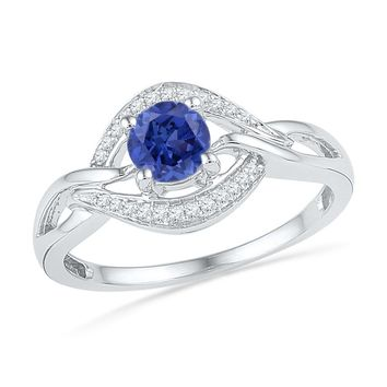 Sterling Silver Womens Round Lab-Created Blue Sapphire Solitaire Diamond Ring 5/8 Cttw