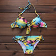 Women's Leaf Printed Push up Bikini Swimsuits Two Pieces