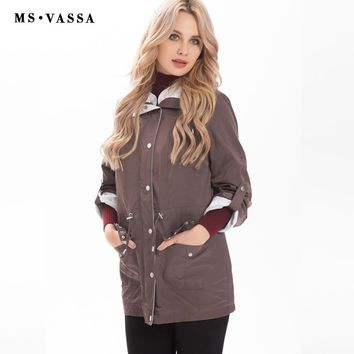 New Spring jacket women casual jacket with hidden hood at collar turn-down collar high quality outerwear