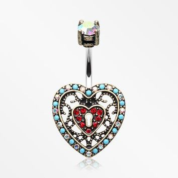 Vintage Boho Filigree Heart Lock Belly Button Ring