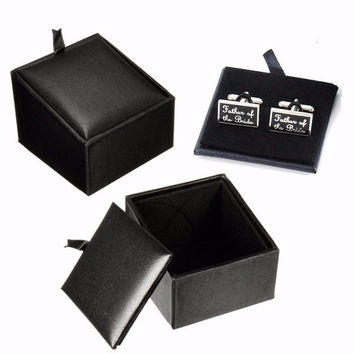 Men Women Cufflink Rings Earring Stroage Black PU leather Multifunctional Box