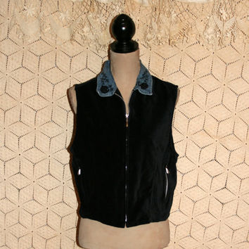 Black Velvet Vest Beaded Vest 90s Boho Cowgirl Denim & Velvet Black Vest Country Western Vest Zip Up Zipper Women Vest Large Womens Clothing