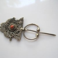 Vintage Berber Silver and Coral Fibula with Fish Motif
