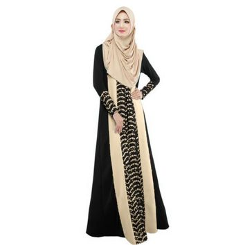 Fashion Ladies Muslim Kaftan Arab Jilbab Abaya Islamic Stitching Long Sleeve Maxi Dress