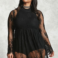 Plus Size Sheer Lace Dress