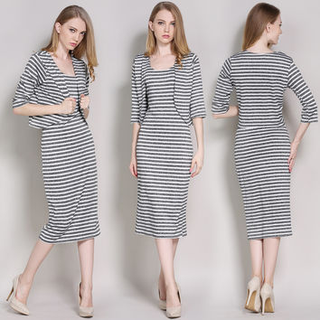 Stripped Two-Piece Lady Outfits for Autumn 22193