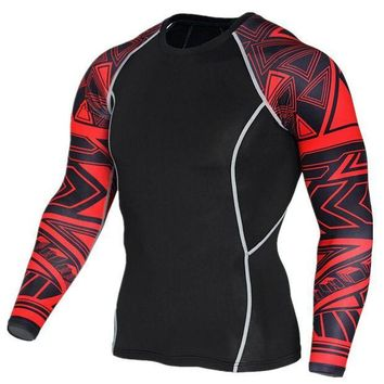 PEAPFS2 2018 New Long Sleeve Sport Shirt Men Quick Dry Men's Running T-shirts Snake Gym Clothing Fitness Top Mens Rashgard Soccer Jersey