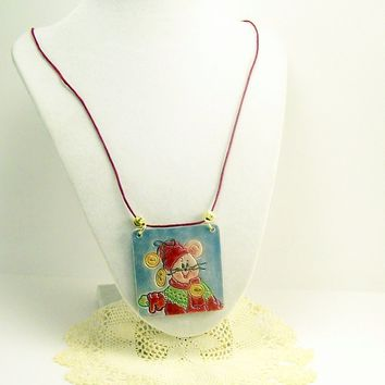 Mouse Pendant Necklace, Unique OOAK Clay Pendant, Fun Jewelry, Wearable Art, Affordable Handmade Polymer Clay Jewelry