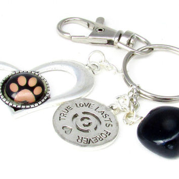 Paw Heart Keychain, Paw Key Chain, Paw Print Keyring, Animal Lover Keychain, Pet Car Accessory, Gift for Animal Lover