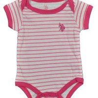 "U.S. Polo Assn. Baby Girls' ""Classic Stripes"" Bodysuit - pink, 0 - 3 months"