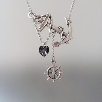 Lost Heart at Sea Necklace by SBC Silver Plated Anchor Silver Swarovski Heart Silver Ship Wheel Silver Chain Made to Order