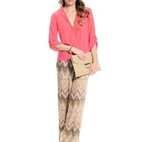 Coral Mix Sand Scripts Palazzo Pants | $10.00 | Cheap Trendy Pants Chic Discount Fashion for Women